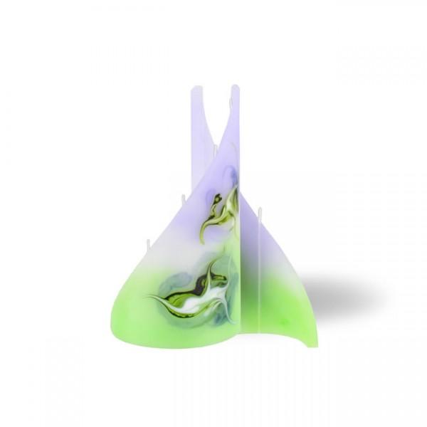 Segel Kerze klein 4 Dochte -  lila/grün/weiß