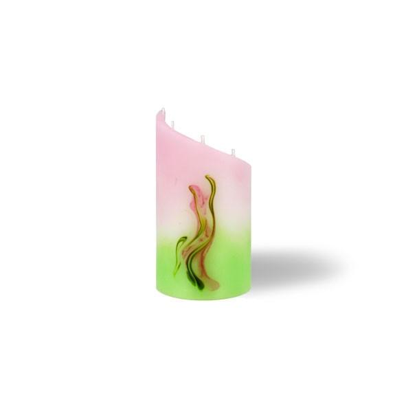 Zylinder Kerze mini 5 Dochte -  hellrosa mit hellgrün