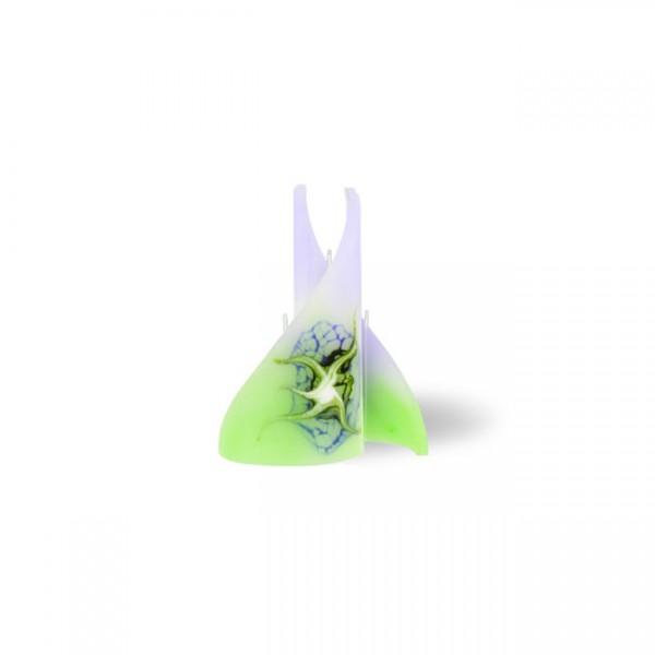 Segel Kerze mini 3 Dochte - lila/grün/weiß