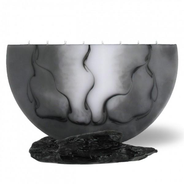 Halbmond Kerze groß 8 Dochte weiß/grau