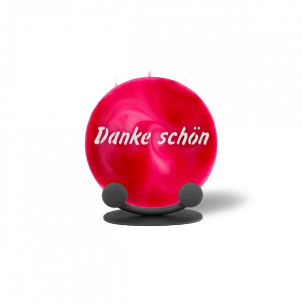 Mond Kerze mini 742 mit Halterung 14 cm Ø - Danke schön - rosa -