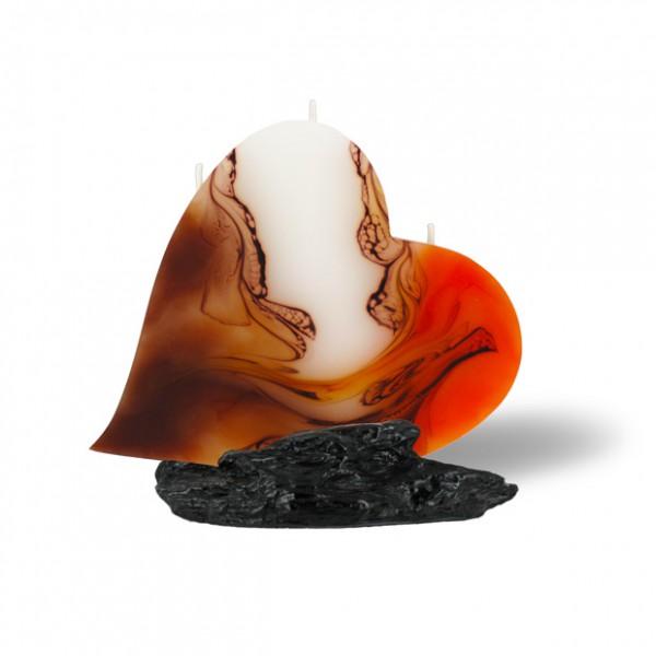 Herz Kerze mit 3 Dochten -  orange/weiß/Cappuccino