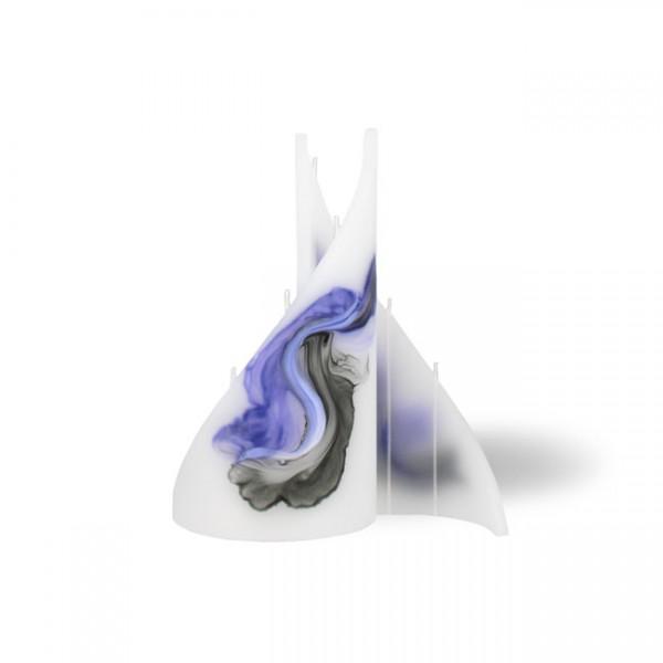 Segel Kerze klein 4 Dochte -  lila/weiß/grau