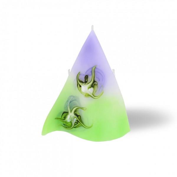 Triangel Kerze 3 Dochte -  lila/grün/weiß