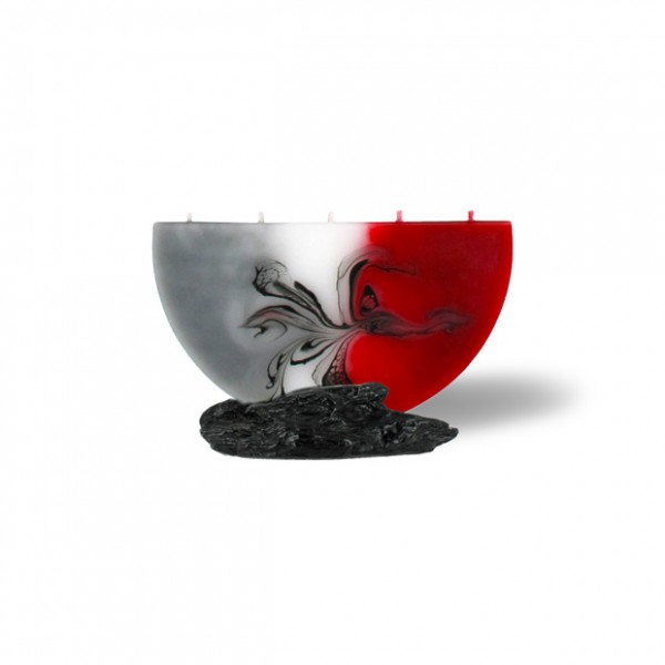 Halbmond Kerze mini 5 Dochte - rot/grau/weiß