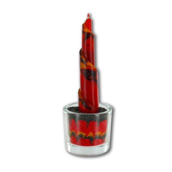Rulo Deko Set mit Glas und Sand - rot/braun/orange