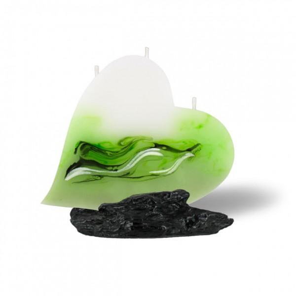 Herz Kerze mit 3 Dochten -  hellgrün mit grau untergemischt