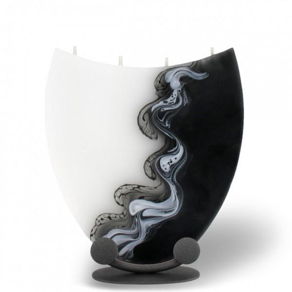 Amphore Kerze mit 4 Dochten -  weiß/schwarz