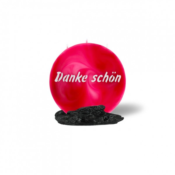 Mond Kerze mini 742 - 14 cm Ø - Danke schön - rosa -