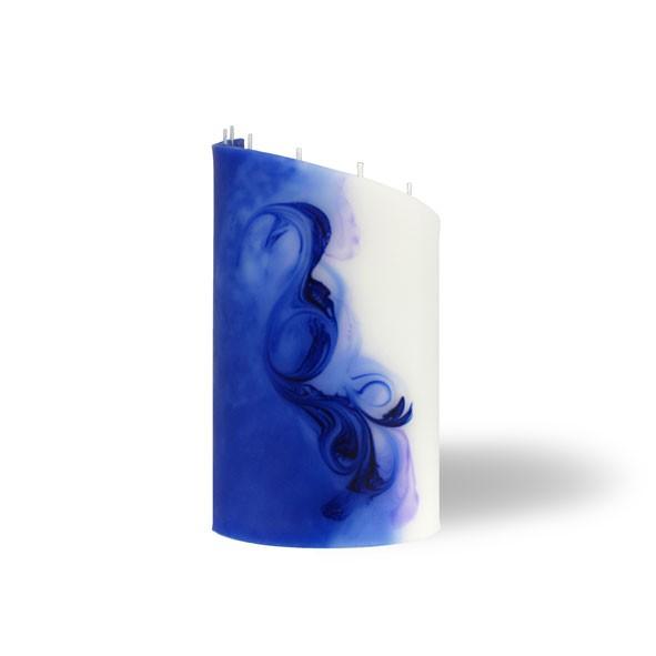Zylinder Kerze klein 8 Dochte -  blau/lila/weiß
