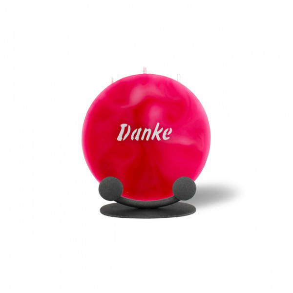 Mond Kerze mini 746 mit Halterung 14 cm Ø - Danke - rosa -