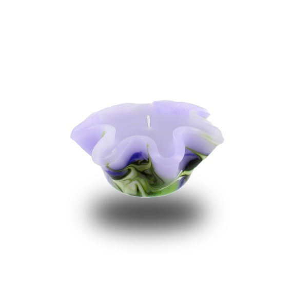 Flower Kerze -S- mit einem Docht - lila/grün/weiß