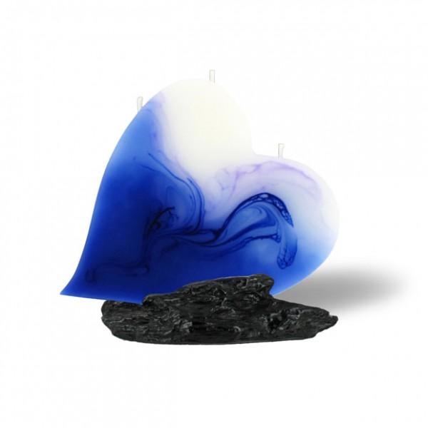 Herz Kerze 614 - blau/lila/weiß
