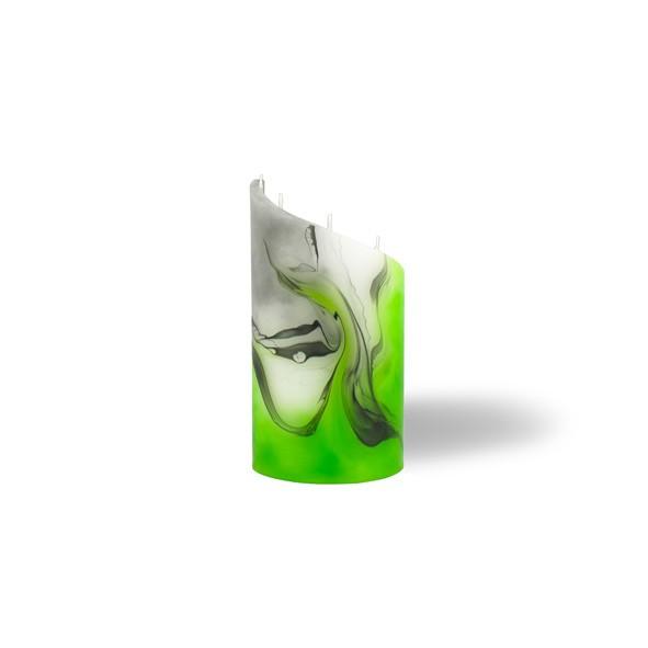 Zylinder Kerze mini 5 Dochte -  grün/weiss/grau