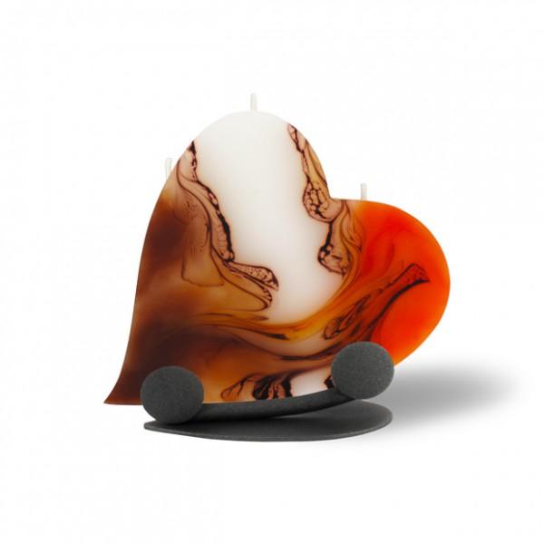 Herz Kerze mit Halterung und 3 Dochten -  orange/weiß/Cappuccino