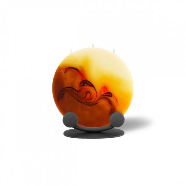 Mond Kerze mini mit Halterung 3 Dochte -  cappuccino/hellorange/braun/creme