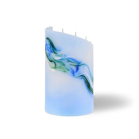 Zylinder Kerze klein 8 Dochte - hellblau/grün