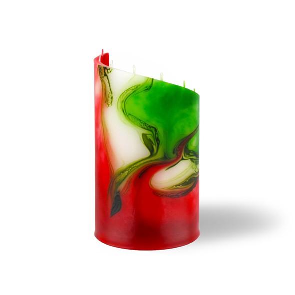 Zylinder Kerze klein 8 Dochte - rot/weiß/grün