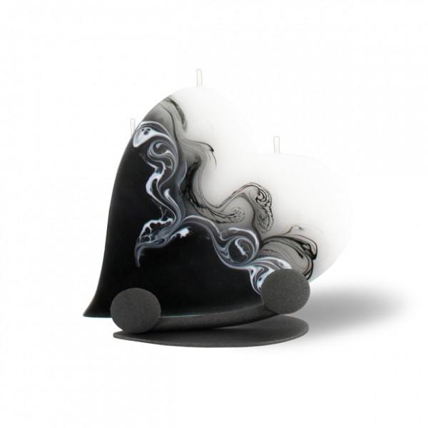 Herz Kerze mit Halterung und 3 Dochten -  weiß/schwarz