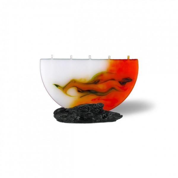 Halbmond Kerze mini 5 Dochte - orange/olive/weiß
