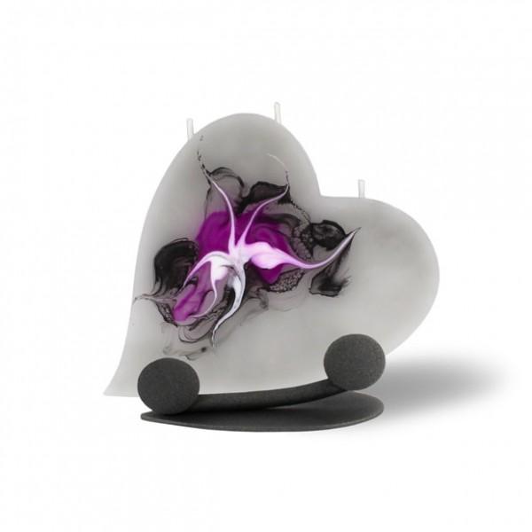 Herz Kerze mit Halterung und 3 Dochten -  grau/pink/weiß/schwarz
