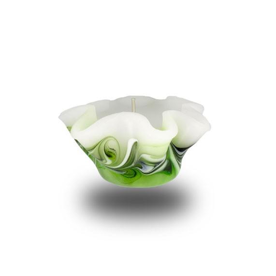 Flower Kerze -S- mit einem Docht -  hellgrün mit grau untergemischt