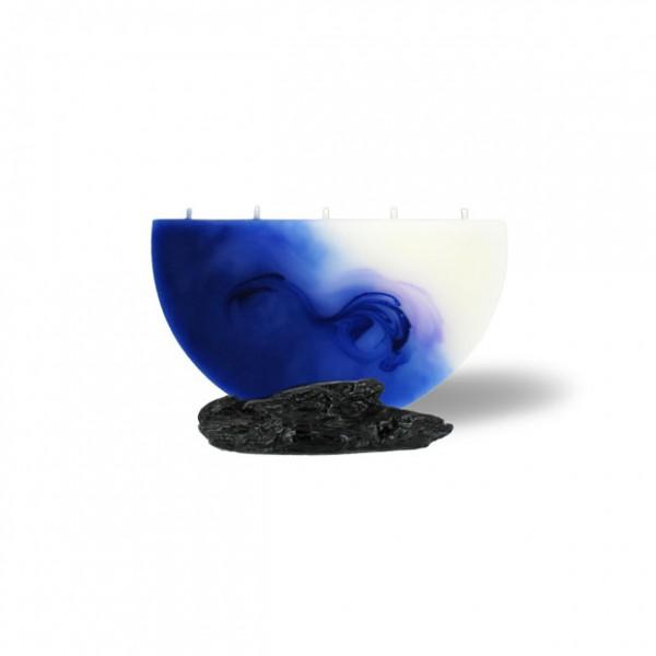 Halbmond Kerze mini 5 Dochte -  blau/lila/weiß