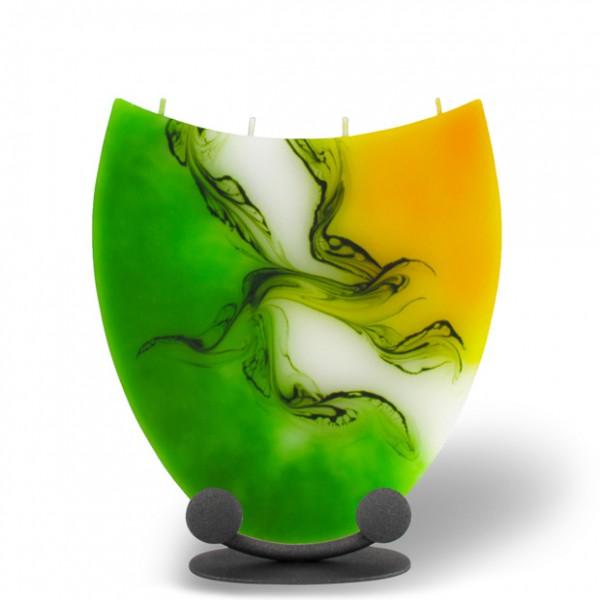 Amphore Kerze mit 4 Dochten -  gelb/grün/weiß