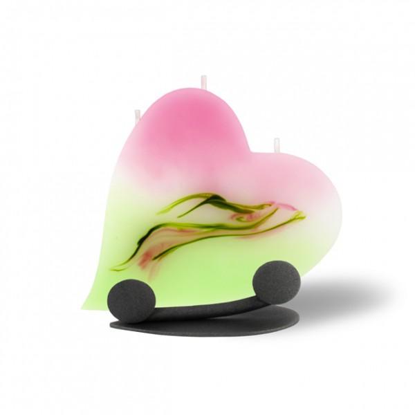 Herz Kerze mit Halterung und 3 Dochten -  hellrosa mit hellgrün