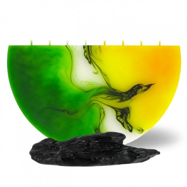Halbmond Kerze groß 8 Dochte -  gelb/grün/weiß