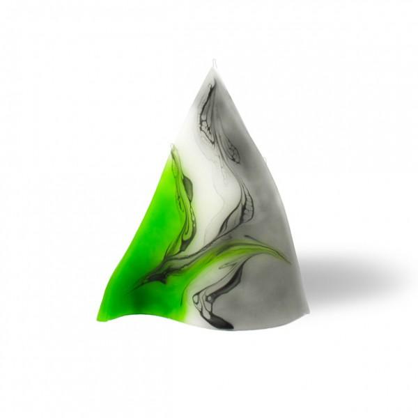 Triangel Kerze 601 - grün/weiß/grau