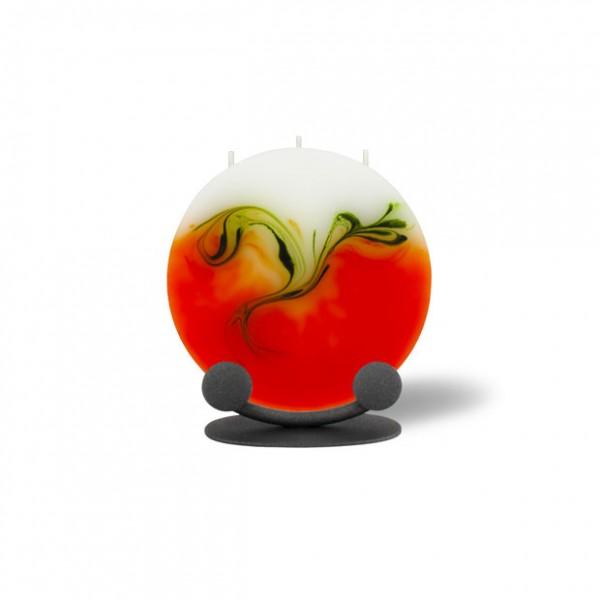 Mond Kerze mini mit Halterung 3 Dochte - orange/olive/weiß