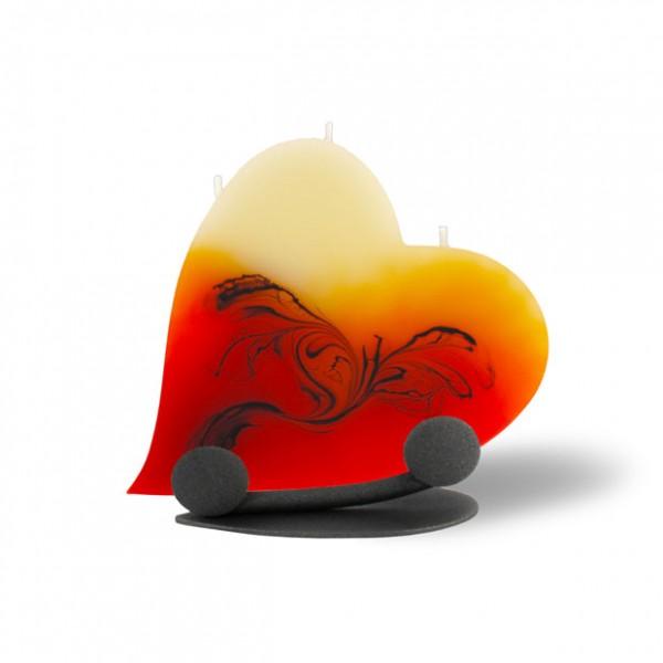 Herz Kerze mit Halterung und 3 Dochten - rot/orange/braun/creme
