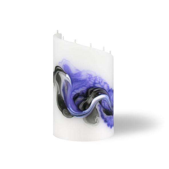 Zylinder Kerze klein 8 Dochte -  lila/weiß/grau