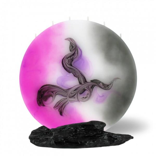 Vollmond Kerze 6 Dochte -  pink/grau/weiß