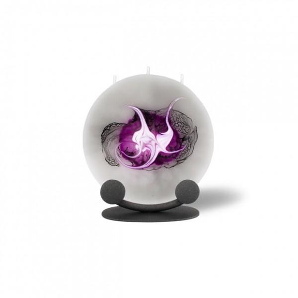 Mond Kerze mini mit Halterung 3 Dochte - grau/pink/weiß/schwarz