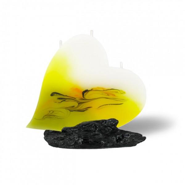 Herz Kerze mit 3 Dochten -  hellgelb mit grau untergemischt