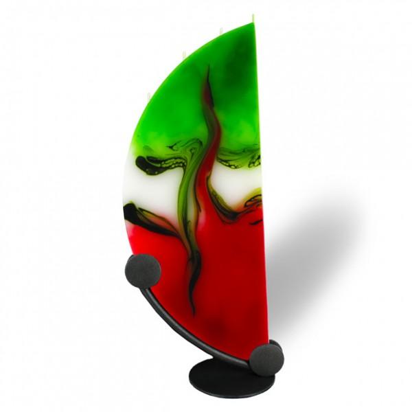 Viertelmond Kerze mit Halterung 4 Dochte - rot/weiß/grün