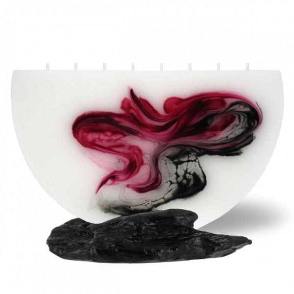 Halbmond Kerze groß 8 Dochte -  rosa/aubergine/grau/weiß