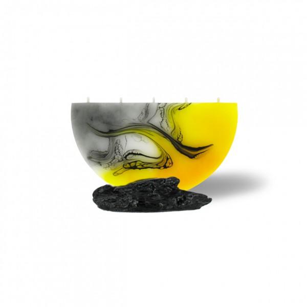 Halbmond Kerze mini 5 Dochte - gelb/weiß/grau