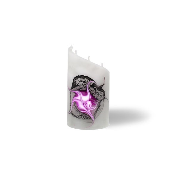 Zylinder Kerze mini 5 Dochte -  grau/pink/weiß/schwarz