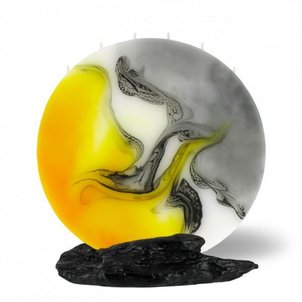 Vollmond Kerze 6 Dochte - gelb/weiß/grau