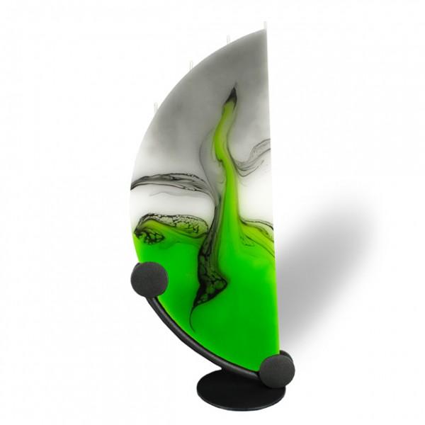 Viertelmond Kerze 601 - grün/weiß/grau