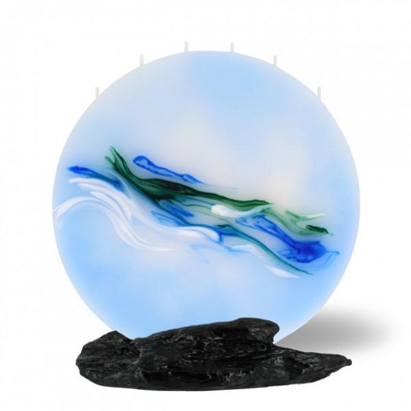 Mond Kerze groß - hellblau/grün
