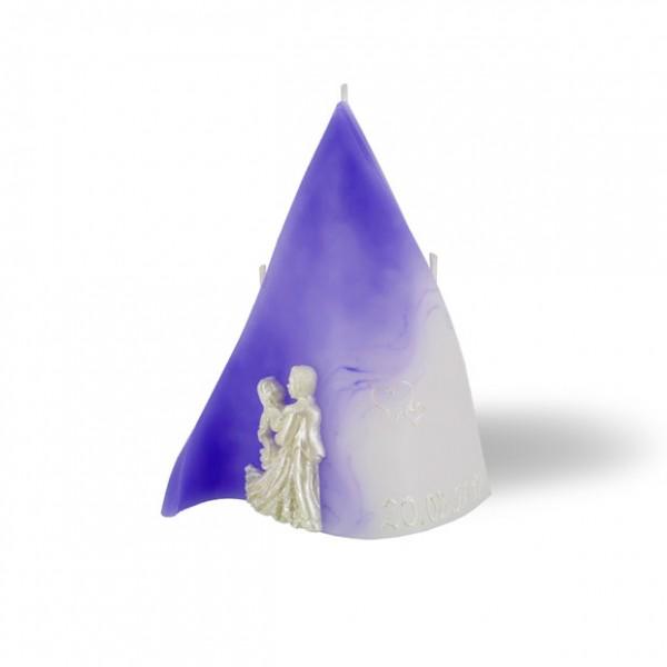 Triangel Kerze 860 mit Wachsdekor + Datum - lila/weiß