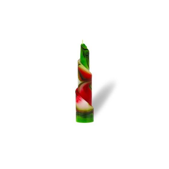 Rulo Kerze -S- 1 Docht - rot/weiß/grün