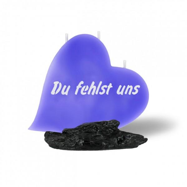 Herz Kerze 866 - Du fehlst uns - lila -