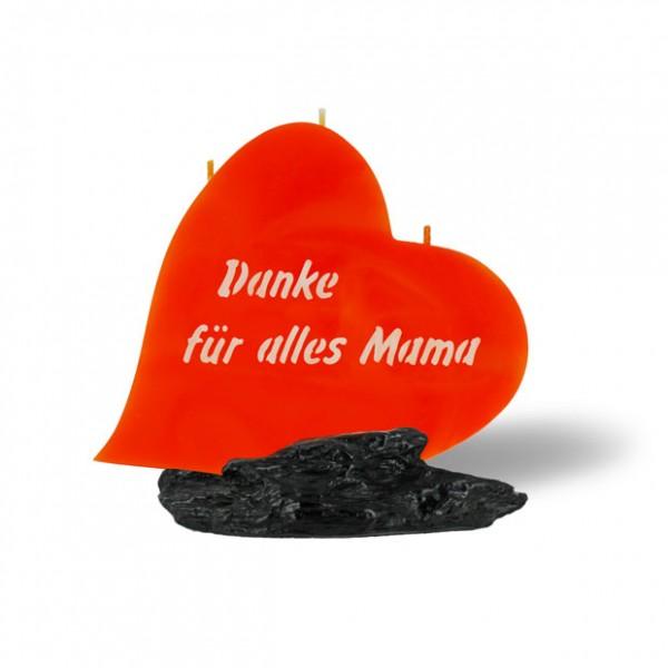 Herz Kerze 787 - Danke für alles Mama - orange -