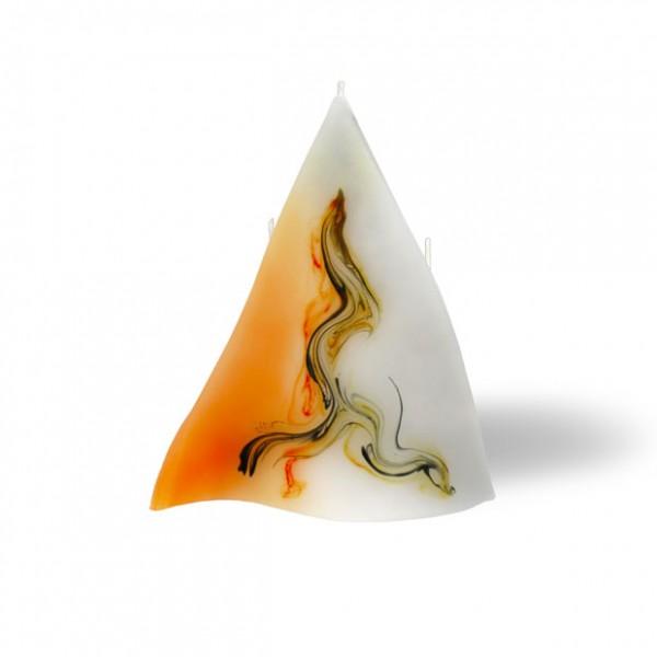 Triangel Kerze 3 Dochte  - orange/grau/weiß