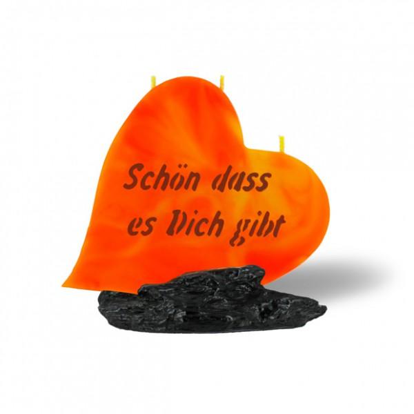 Herz Kerze 719 - Schön dass es dich gibt - orange/gelb - dunkle Schrift